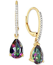 Mystic Topaz (2-1/2 ct. t.w.) & Diamond (1/10 ct. t.w.) Drop Earrings in 14k Gold