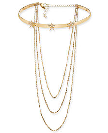"I.N.C. Gold-Tone Multi-Chain Star Flower Choker Necklace, 12"" + 3"" extender, Created for Macy's"