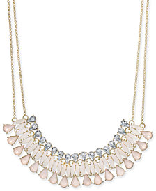 "I.N.C. Gold-Tone Multi-Stone Statement Necklace, 19"" + 3"" extender, Created for Macy's"
