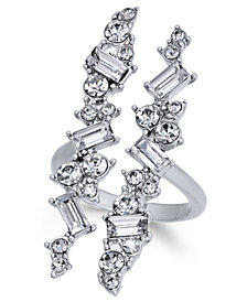 I.N.C. Silver-Tone Wide Crystal Cuff Statement Ring, Created for Macy's