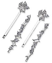I.N.C. Silver-Tone 4-Pc. Set Crystal Bobby Pins, Created for Macy's