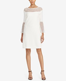 lauren ralph lauren crochet lace trim dress