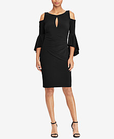Lauren Ralph Lauren Petite Cold-Shoulder Keyhole Dress