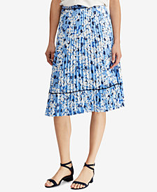 Lauren Ralph Lauren Pleated A-Line Skirt