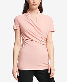 DKNY Petite Draped Surplice Blouse, Created for Macy's