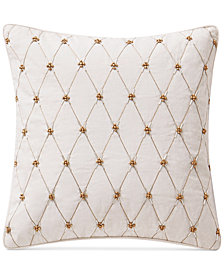 "Waterford Annalise  14"" x 14"" Beaded Square Decorative Pillow"