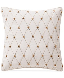 """Waterford Annalise  14"""" x 14"""" Beaded Square Decorative Pillow"""