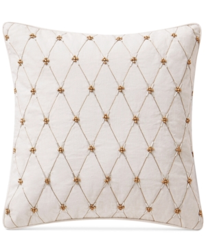 "Image of Waterford Annalise 14"" x 14"" Beaded Square Decorative Pillow Bedding"
