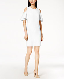 Calvin Klein Cold-Shoulder Scuba Crepe Dress