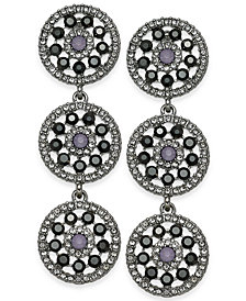 I.N.C. Pavé & Colored Stone Flower Triple Drop Earrings, Created for Macy's