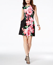 Vince Camuto Printed Cap-Sleeve Fit & Flare Dress
