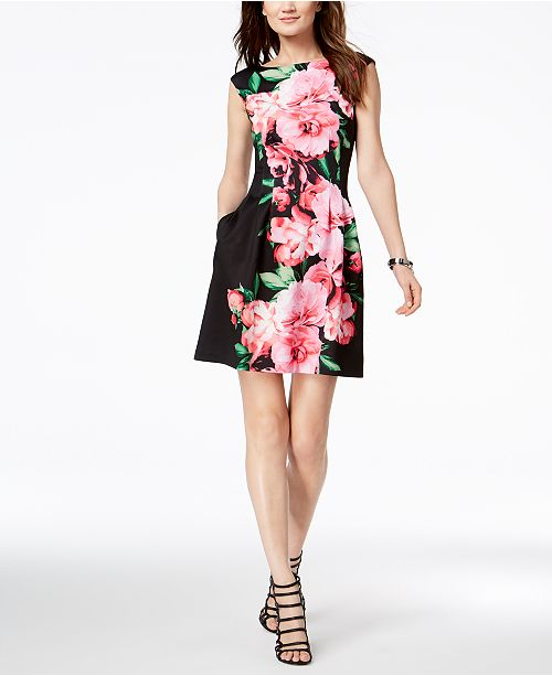 9a8b8bd39e90 Vince Camuto Floral Printed Cap-Sleeve Fit   Flare Dress   Reviews ...