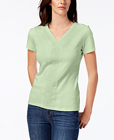 Karen Scott Crochet-Trim T-Shirt, Created for Macy's