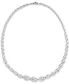 "Giani Bernini Beaded Link 18"" Graduated Collar Necklace in Sterling Silver, Created for Macy's"
