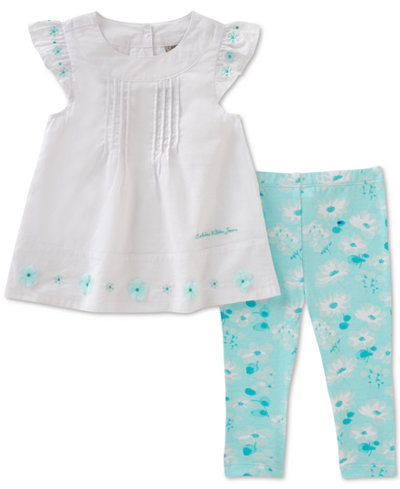 Calvin Klein 2-Pc. Floral-Print Tunic & Leggings Set, Baby Girls