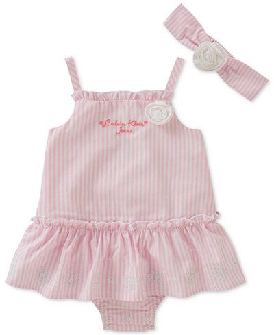 Calvin Klein 2-Pc. Striped Romper & Headband Set, Baby Girls