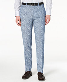 Tallia Orange Men's Slim-Fit Blue Paisley Suit Pants