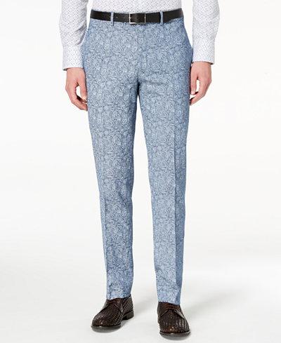 Tallia Orange Men's Slim-Fit Blue Paisley Suit Pants