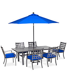 """Highland Outdoor 7-Pc. Dining Set (84"""" x 42"""" Dining Table and 6 Dining Chairs) with Sunbrella® Cushions, Created for Macy's"""