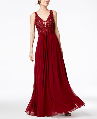 Betsy & Adam Petite Embellished Lace Plunge Gown