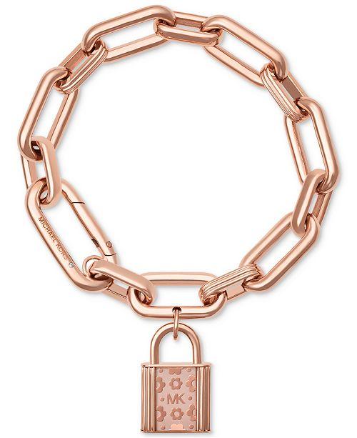 c6a972996ce6 Michael Kors Rose Gold-Tone Flower Padlock Link Bracelet   Reviews ...