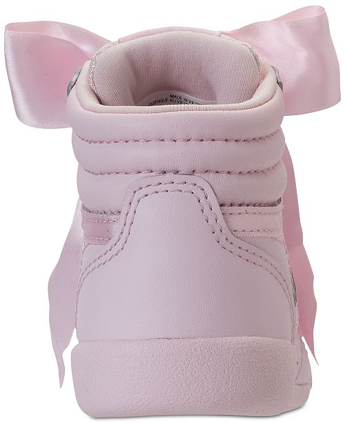 f4e06b3a7b1b9 ... Reebok Toddler Girls  Freestyle Hi Satin Bow Casual Sneakers from Finish  ...