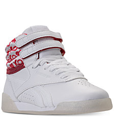 Reebok Little Girls' Freestyle High Top Hearts Casual Sneakers from Finish Line