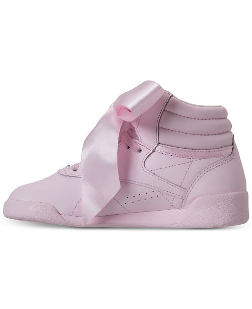 e28958d50567c ... Reebok Little Girls  Freestyle Hi Satin Bow Casual Sneakers from Finish  ...
