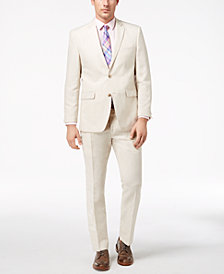 Perry Ellis Men's Slim-Fit Stretch Stone Linen Suit