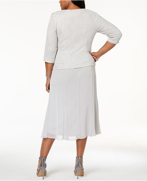 Evenings Midi Size amp; Plus Embellished Dress Silver Alex Jacket xBwff