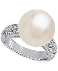Honora Style Cultured White Ming Pearl (13mm) Ring in Sterling Silver