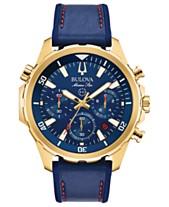 ca8c1b3021e Bulova Men s Chronograph Marine Star Blue Leather   Silicone Strap Watch  43mm