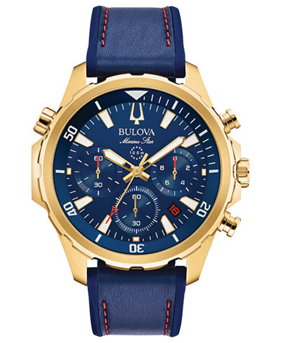 Bulova Men's Chronograph Marine Star Blue Leather & Silicone Strap Watch 43mm