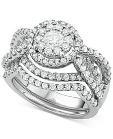 Diamond Interlocking Halo Bridal Set (2 ct. t.w.) in 14k White Gold