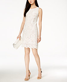 Jessica Howard Laser-Cut Sheath Dress, Regular & Petites