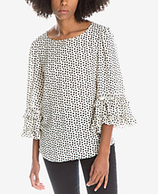 Max Studio London Printed Ruffled-Sleeve Top, Created for Macy's