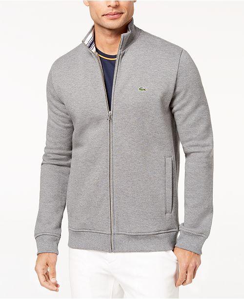 52c130bbc5e8 Lacoste Men s Brushed Piqué Fleece Full-Zip Sweatshirt   Reviews ...