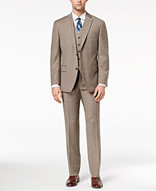 Michael Kors Men's Big & Tall Classic-Fit Brown Birdseye Vested Suit