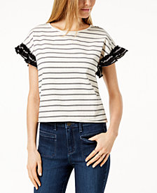 Maison Jules Striped Ruffled-Sleeve Top, Created for Macy's