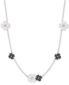 "Swarovski Two-Tone Crystal Flower 11-3/4"" Choker Necklace"