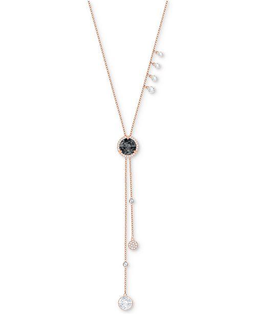 "Swarovski Rose Gold-Tone Crystal Asymmetric 25-5/8"" Lariat Necklace"