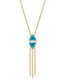 "Swarovski Gold-Tone Trillion Crystal 16-1/2"" Lariat Necklace"