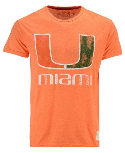 Retro Brand Men's Miami Hurricanes Retro Mock Twist Team Logo T-Shirt
