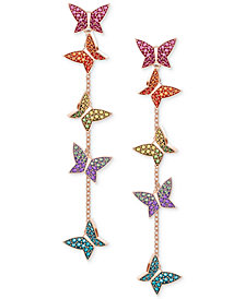 Swarovski Lilia Rose Gold-Tone Plated Mixed-Metal Multi-Colored Earrings