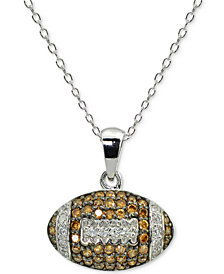 "Giani Bernini Cubic Zirconia Football Pendant Necklace in Sterling Silver, 16"" + 2"" extender, Created for Macy's"