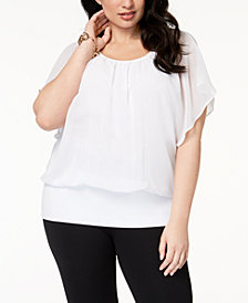 JM Collection Plus Size Banded-Bottom Top, Created for Macy's