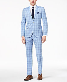 Nick Graham Men's Slim-Fit Stretch Bright Blue Plaid Suit