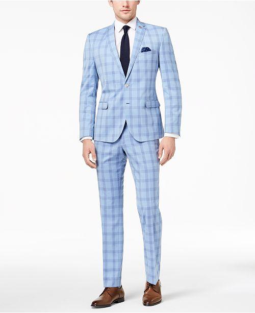 00f15b1adad1 Nick Graham Men s Slim-Fit Stretch Bright Blue Plaid Suit   Reviews ...