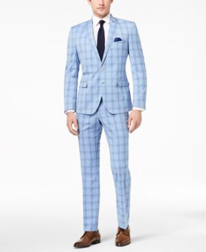 Nick Graham Men's Slim-Fit Stretch Bright Blue Plaid Suit thumbnail