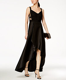 Adrianna Papell Lace & Mikado Satin High-Low Gown